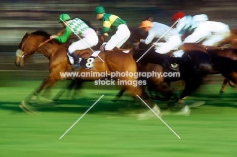 horses and jockeys racing at racecourse