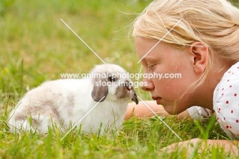 mini lop rabbit with girl